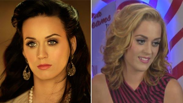 Perry is seen on the left in the Firework video as a brunette and on the right in her MTV interview as a blonde. - Provided courtesy of Capitol Records / MTV