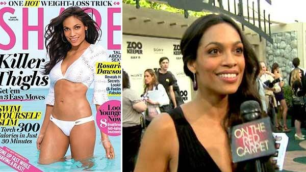 Rosario Dawson appears on the cover of Shape magazines August 2011 issue. / Rosario Dawson talks to OnTheRedCarpet.com at the premiere of Zookeeper in July 2011. - Provided courtesy of OTRC / Shape