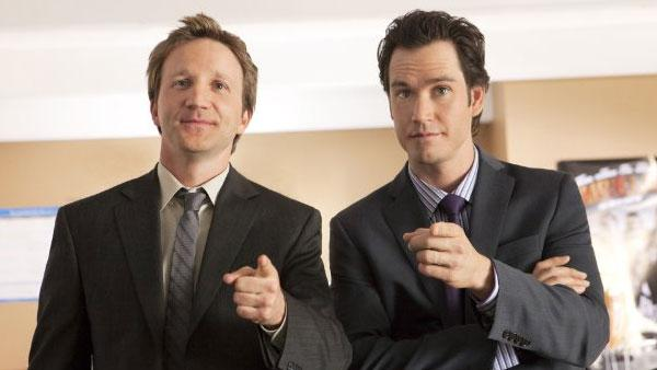 Mark-Paul Gosselaar and Breckin Meyer in a scene from Franklin & Bash - Provided courtesy of TNT