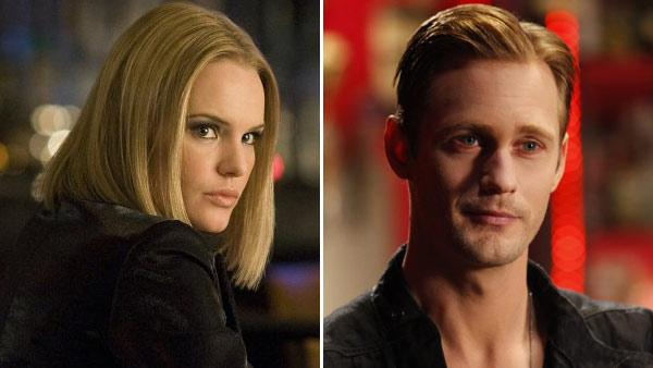 Kate Bosworth appears in a still from the 2008 film, '21.' / Alexander Skarsgard appears in a still from 'True Blood.'