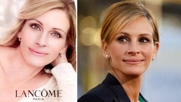 Left: Julia Roberts appears in an ad for Lancome Right: Cast member Julia Roberts arrives at the premiere of Larry Crowne in Los Angeles, Monday, June 27, 2011. Larry Crowne will be released on July 1. - Provided courtesy of AP / Matt Sayles /  Lancome