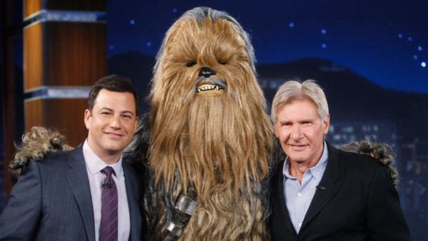 Harrison Ford and Chewbacca appear on Jimmy Kimmel Live on July 26, 2011. - Provided courtesy of ABC