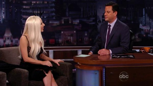 Lady Gaga talks before her performance on the ABC late-night talk show 'Jimmy Kimmel Live!' on Thursday July 28, 2011.
