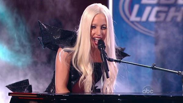 Lady Gaga performs on the ABC late-night talk show 'Jimmy Kimmel Live!' on Thursday July 28, 2011.