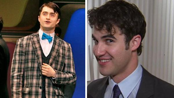 Daniel Radcliffe appears in the Broadway musical How To Success In Business Without Really Trying. / Darren Criss speaks to OnTheRedCarpet.com in March 2011 at an AIDS Project L.A. event. - Provided courtesy of OTRC / facebook.com/H2SBway