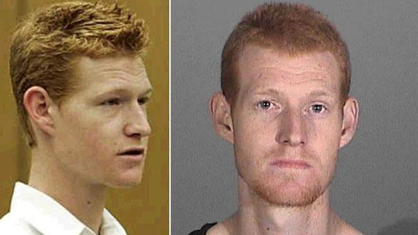 Pictured: Redmond O'Neal appears at a Los Angeles court for his arraignment on felony drug charges on Friday Jan. 9, 2009. Right: O'Neal appears in a mug shot for his arrest on August 2, 2011.