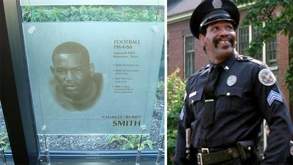 Bubba Smiths college photo appears on a plague at Michigan State University. / Bubba Smith appears as Moses Hightower in the Police Academy franchise. - Provided courtesy of flickr.com/photos/cedarbend / Warner Bros. Pictures