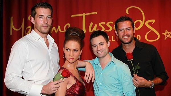 Matt Grant from the ABC show 'The Bachelor' and Juan Barbieri and Jonathan Novack from 'The Bachelorette' pose with Jennifer Lopez's wax figure at Madame Tussauds in Hollywood.