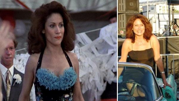 Annette Charles appears in a scene from 'Grease' in 1978 and a photo from her facebook page on the right.