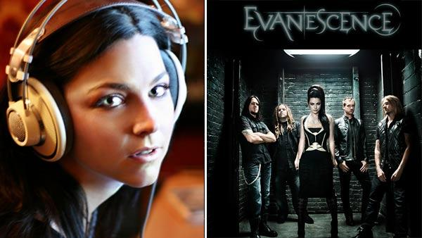 Amy Lee of Evanescence is seen in a recording studio in this photo posted on the rock groups website in 2011. / Members of the band Evanescence are seen in this promotional photo posted on the groups website in 2011. - Provided courtesy of evanescence.com