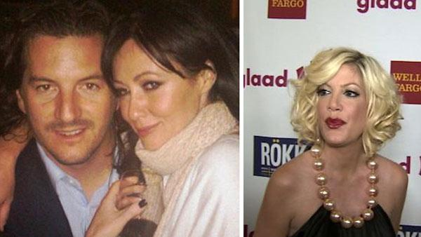 Shannen Doherty and Kurt Iswarienko appear in this photo posted on the actress Facebook page on March 22, 2010. / Tori Spelling and Dean McDermott attend the Glaad event in Los Angeles on Sunday, April 10, 2011. - Provided courtesy of OTRC / facebook.com/ShannenDoherty