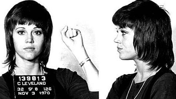 Jane Fonda appears in a mug shot taken after her 1970 arrest in Ohio for alleged drug smuggling.