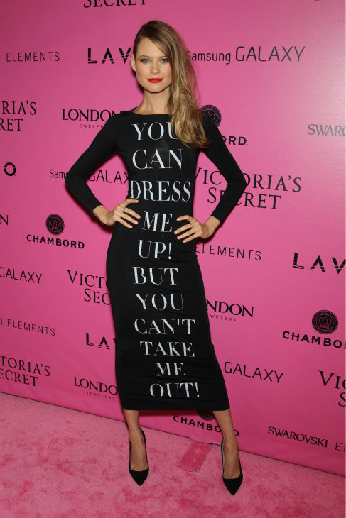 Victoria's Secret Angel Behati Prinsloo poses at the press line at the 2012 Victoria's Secret Fashion Show After Party in New York City on Nov. 7, 2012.