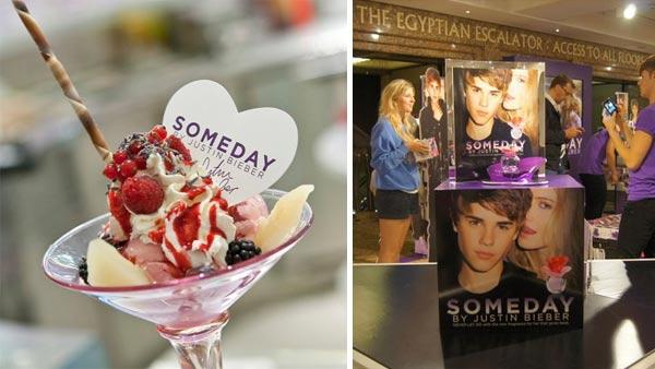 An ice cream sundae created to promote Justin Biebers Someday fragrance is displayed at Harrods, a posh London department store, in August 2011. / Fans attend the launch of Someday at Harrods on Aug. 5, 2011. - Provided courtesy of facebook.com/Harrods