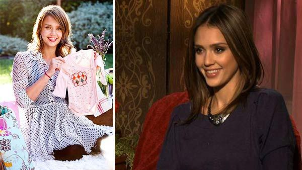 Jessica Alba appears in a photo posted on her Facebook page on July 28, 2011. She is holding a onesie at her baby shower. / Jessica Alba speaks in a video interview provided by Universal Pictures about the movie Little Fockers in December 2010. - Provided courtesy of Universal Pictures