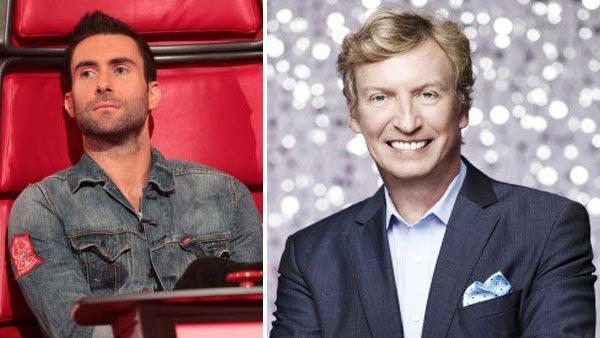 Adam Levine appears on an episode of The Voice in 2011. / Nigel Lythgoe appears in a promotional photo for So You Think You Can Dance. - Provided courtesy of NBC / FOX