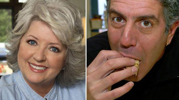 Paula Deen appears in a 2010 promotional photo posted on the Food Networks website. / Anthony Bourdain appears in a still from Anthony Bourdain: No Reservations. - Provided courtesy of Food Network / Travel Channel