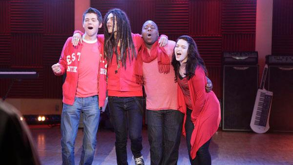 The Glee Project contestants Damian, Alex, Samuel and Lindsay appear in a promotional photo for the series. - Provided courtesy of Oxygen