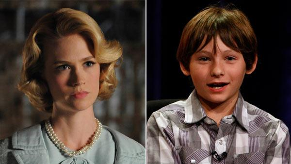 January Jones appears in a still from Mad Mens fourth season in 2010./ Jared Gilmore appears at the ABC Summer Press Tour on August 7, 2011. - Provided courtesy of AMC / ABC
