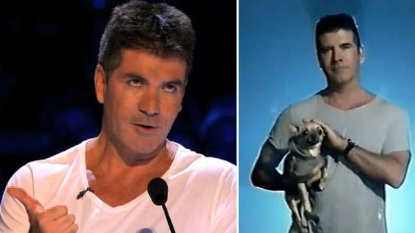 Simon Cowell appears in a scenes from The X Factor, which debuts on FOX on Sept. 21, 2011. / Simon Cowell appears with a puppy in a promotional ad for the UK series The X Factor. - Provided courtesy of FOX / ITV / Fremantle Media