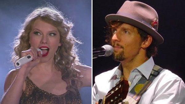 Taylor Swift appears in a scene from her music video Sparks Fly, which was released on Aug. 10, 2011. / Jason Mraz performs in concert in Searcy, AR, in October 2010. - Provided courtesy of Big Machine Records Inc. / Facebook.com/JasonMraz