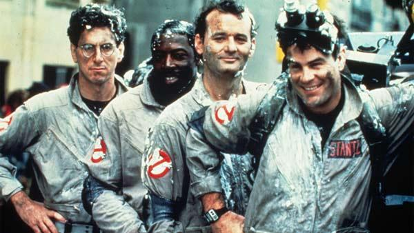 Harold Ramis, Ernie Hudson, Bill Murray and Dan Aykroyd appear in a scene from the 1984 film 'Ghostbusters.'