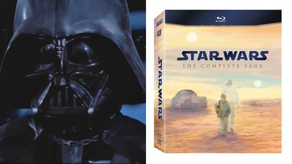 A scene from Return of the Jedi in 1982 featuring Darth Vader. /  An image of the cover of the Blu-ray DVD collection for Star Wars. - Provided courtesy of Lucasfilm