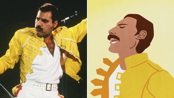 A photo of Freddie Mercury from the bands Facebook page /  The Google Doodle of Mercury featured on Googles homepage on September 5. - Provided courtesy of Facebook / Google