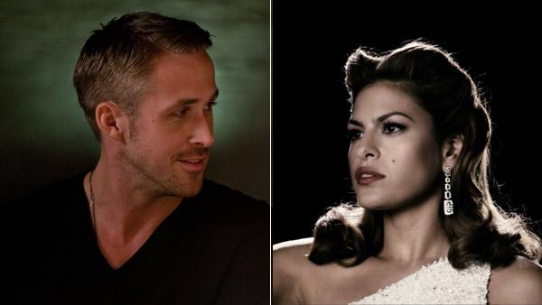 Ryan Gosling appears in a still from the 2011 film, Crazy, Stupid, Love. / Eva Mendes appears in a promotional photo for the 2008 film, The Spirit. - Provided courtesy of Warner Bros. Entertainment / Ben Glass / Lionsgate