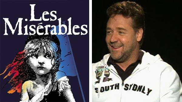The Les Miserables musical logo. / Russell Crowe talks to OnTheRedCarpet.com in 2010. - Provided courtesy of Cameron Mackintosh / OTRC
