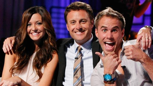 Holly Durst, host Chris Harrison and Michael Stagliano appear in a still from Bachelor Pad. - Provided courtesy of ABC / Rick Rowell