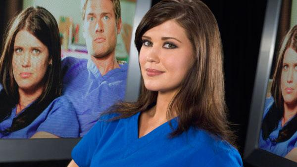 Sarah Lancaster appears in a promotional photo for the NBC television series 'Chuck.'