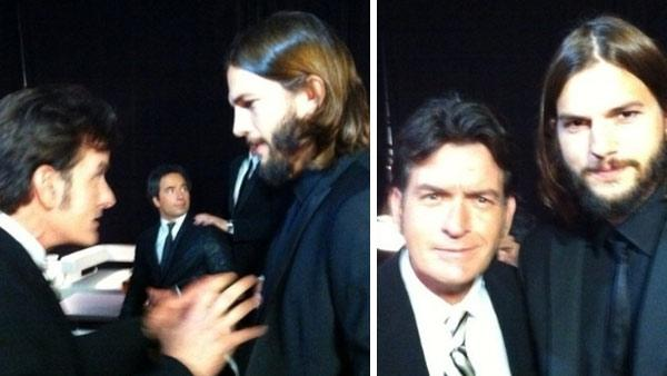 Charlie Sheen and Ashton Kutcher, his replacement on Two and a Half Men, appear backstage at the 2011 Emmy Awards in Los Angeles on Sept. 19, 2011. - Provided courtesy of whosay.com/charliesheen/photos/70368