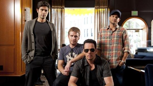 Kevin Dillon, Adrian Grenier, Kevin Connolly and Jerry Ferrara appear in a promotional still for Entourage. - Provided courtesy of HBO