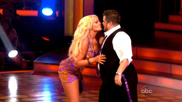 Chaz Bono and his partner Lacey Schwimmer are seen dancing in the season 13 premiere of 'Dancing With The Stars' on September 19, 2011.