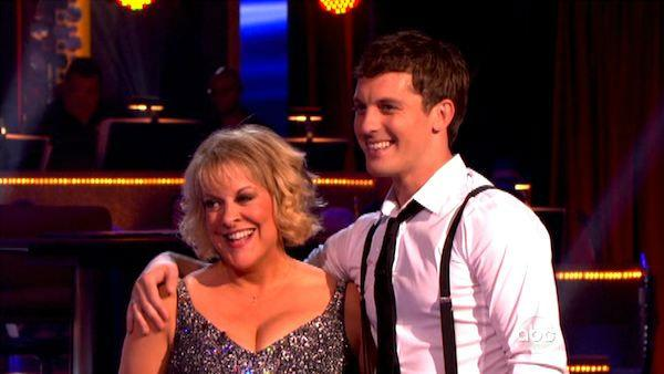 Television host Nancy Grace and her partner Tristan Macmanus received 16 out of 30 from the judges for their Cha Cha Cha on the season premiere of Dancing With The Stars. - Provided courtesy of ABC