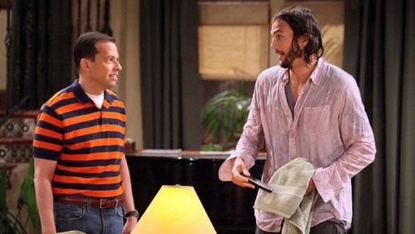 Ashton Kutcher and Jon Cryer appear in a scene from Two and a Half Men during the CBS shows ninth season premiere on Sept. 19, 2011. - Provided courtesy of CBS
