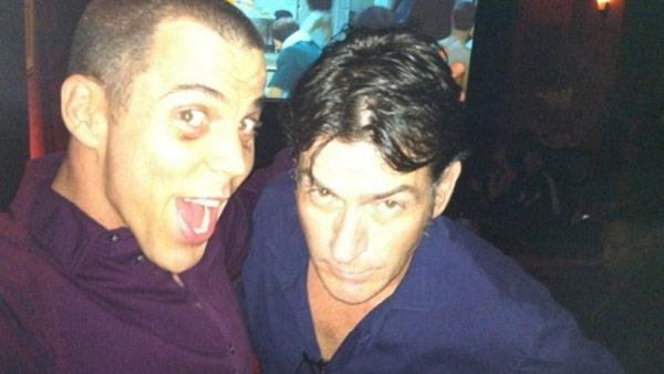Steve-O and Charlie Sheen appear in this photo taken at the Comedy Central Roast of Charlie Sheen, posted on Sheens Twitter page on Sept. 20, 2011. - Provided courtesy of whosay.com/charliesheen/photos/70841