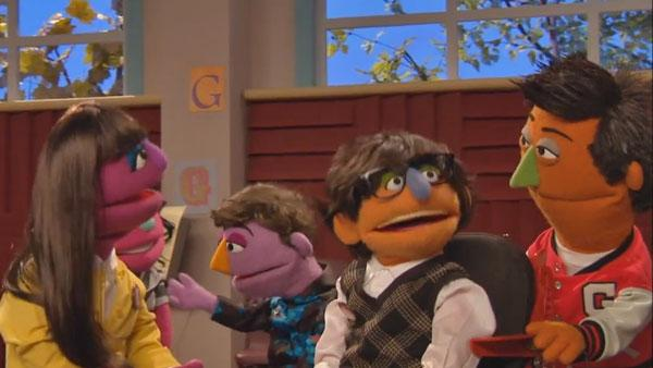 A scene from the Glee parody featured on Sesame Street. - Provided courtesy of Sesame Workshop / PBS