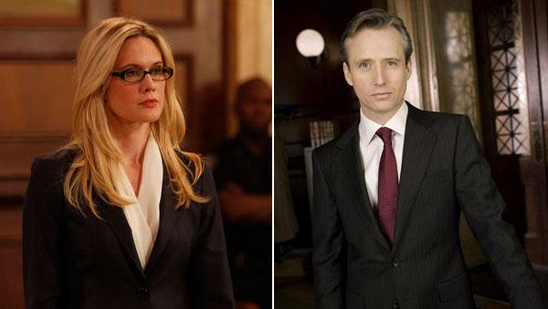 Stephanie March appears in a scene from a 2011 episode of Law & Order: SVU. / Linus Roache appears in a promotional photo for Law & Order. - Provided courtesy of NBC