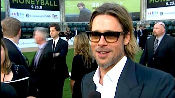 Brad Pitt does an interview at Oaklands Colliseum to promote Moneyball. - Provided courtesy of Columbia Pictures