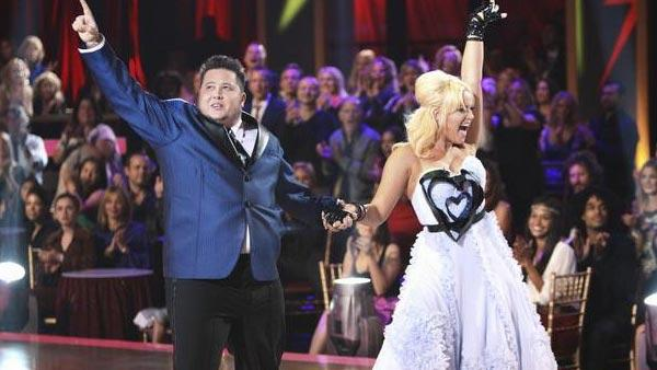 LGBT activist Chaz Bono and his partner Lacey Schwimmer received 17 out of 30 from the judges for their Quickstep on the September 26 episode of 'Dancing With The Stars.'
