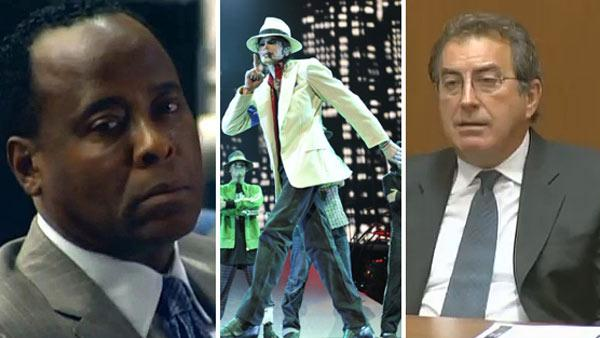 Dr. Conrad Murray appears at his involuntary manslaughter trial on Sept. 27, 2011. He is accused of helped to cause the death of Michael Jackson. / Michael Jackson rehearses for his This Is It tour. / Kenny Ortega appears at Conrad Murrays trial. - Provided courtesy of OTRC / AEG Live