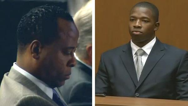 Michael Jacksons security chief, Faheem Muhammad, testifies at the involuntary manslaughter trial of Conrad Murray on Sept. 28, 2011. / Conrad Murray appears at his involuntary manslaughter trial. - Provided courtesy of OTRC