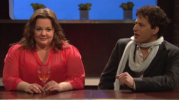 Mike & Molly cast member Melissa McCarthy appears on Saturday Night Live with Andy Samberg on October 1. - Provided courtesy of NBC