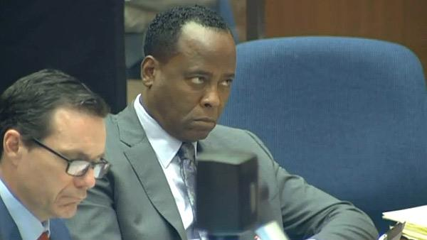 Oct. 3, 2011: Conrad Murray appears his involuntary manslaughter trial over the death of Michael Jackson. Here, he is pictured at the time Dr. Richelle Cooper of UCLA Medical Center testifies on Day 5. - Provided courtesy of OTRC