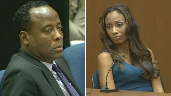 Oct. 4, 2011: Conrad Murray appears at his involuntary manslaughter trial. / Conrad Murrays girlfriend Nicole Alvarez testifies at the doctors involuntary manslaughter trial. - Provided courtesy of OTRC
