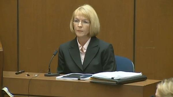 Oct. 5, 2011: Sally Hirschberg from Sea Coast Medical, a pharmaceutical company, testifies at Conrad Murray's involuntary manslaughter trial.