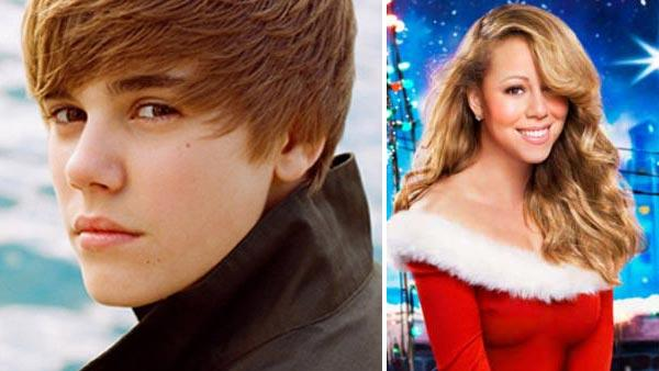 Justin Bieber appears in an undated photo from his official website, JustinBieberMusic.com. / Mariah Carey appears on the cover of Mariah Carey: Merry Christmas II You. - Provided courtesy of JustinBieberMusic.com / Island Records