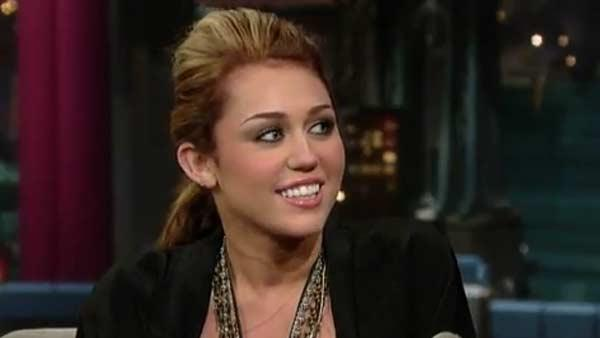 (Pictured: Miley Cyrus appears in a still from 'Late Night with David Letterman.')